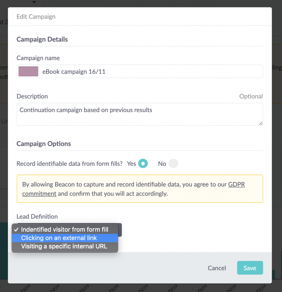 the outcome tracking lead definition data can be changed
