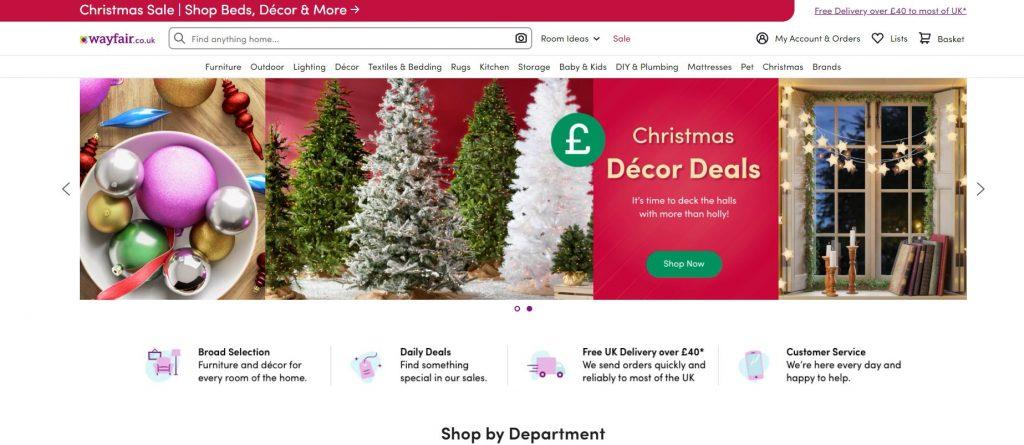 Christmas themed landing page - Wayfair