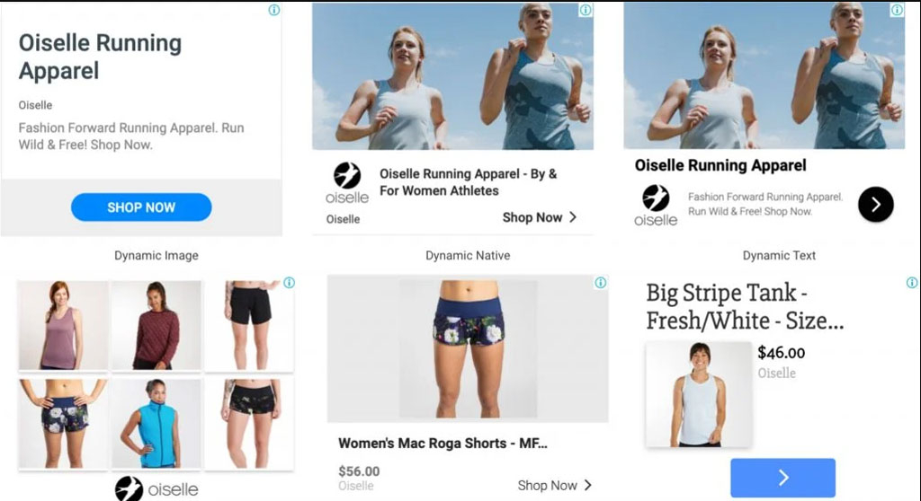Image shows different types of dynamic advertising for apparel brand Oiselle