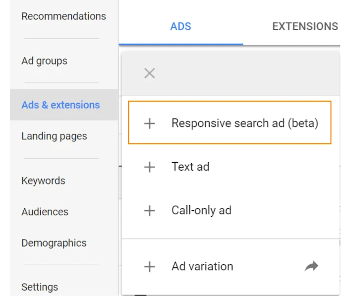 Google image of where to create responsive search ads
