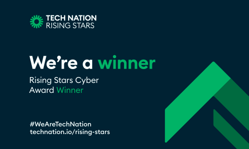 """image shows a card with the words """"we're a winner"""" rising stars 3.0 cyber award winner"""